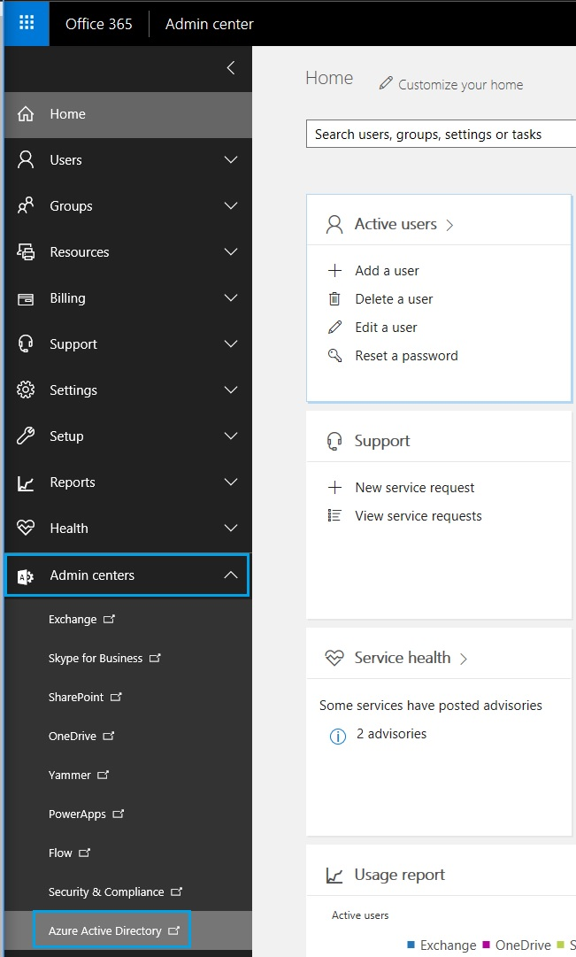 Accessing Azure Active Directory services via Office 365 Admin center