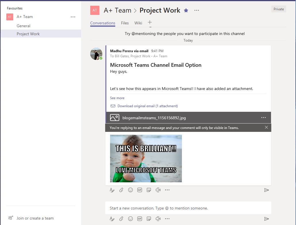 How the email looks in Microsoft Teams Channel
