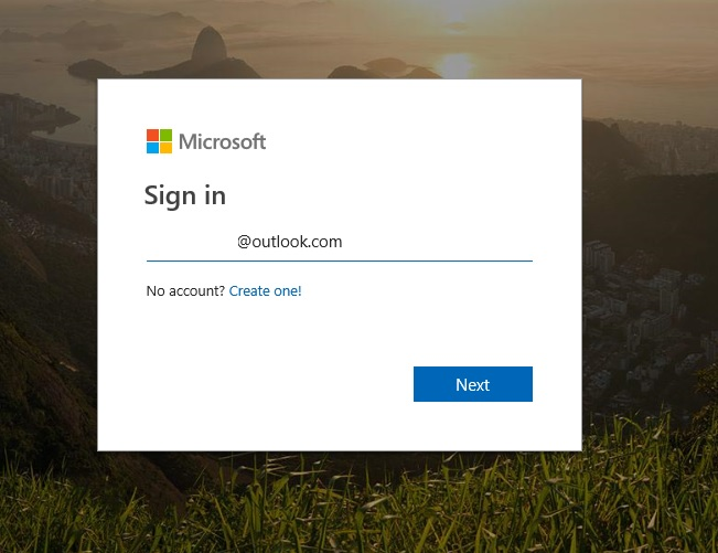 Microsoft Sign-in page for username