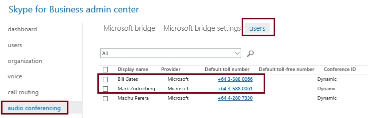 Checking the new unique dial-in numbers assigned to your audio conferencing enabled users