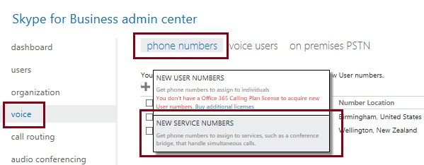 Adding a new service number in Skype for Business admin center