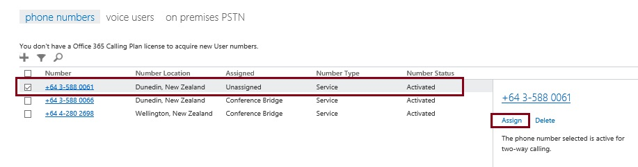 Assign an unassigned phone number in Skype for Business