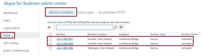 New Conference Bridge Numbers in Skype for Business