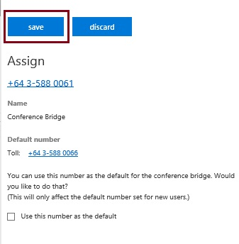 Saving the number to be assigned as a conference bridge