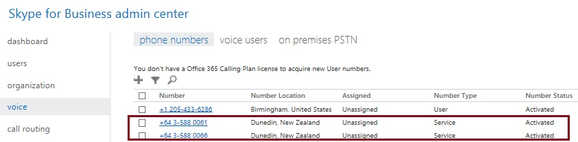 Skype for Business - Unassigned numbers